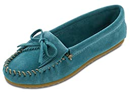Minnetonka Women\'s Turquoise Suede Kilty Suede Moc 8 B(M) US