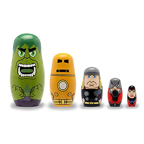 Avengers Wooden Nesting Doll Set Crafted from real wood Marvels super heros five in set (Avengers Marvel Nesting Dolls compare prices)
