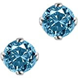 1 ct. Blue - I1 Round Brilliant Cut Diamond Earring Studs in 14K White Gold