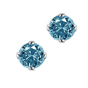 1/2 ct. Blue - SI3 Round Brilliant Cut Diamond Earring Studs in 14K White Gold: Katarina