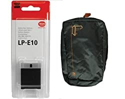 LP-E10 Battery for Canon EOS REBEL T3,T5,1100D, 1200D Rechargeable + Carry Pouch