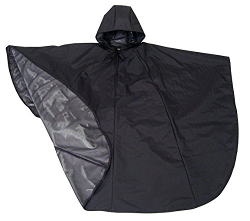 Black Wheelchair Rain Poncho with Hood and Zipper Neck Closure - 1