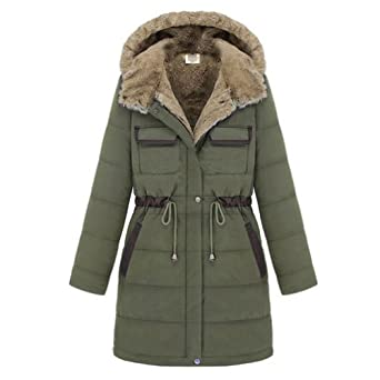 Hee Grand Ladies Fur Collar Coat Hooded Cotton-padded Parka Overcoat by Hee Grand