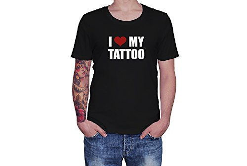 I Love My Tattoos - Red Heart - Novelty Gift - Custom Adult Unisex Tshirt