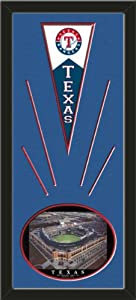Texas Rangers Wool Felt Mini Pennant & Rangers Ballpark , First Night Game Photo... by Art and More, Davenport, IA