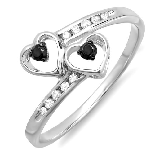 0.33 Carat (ctw) 925 Sterling Silver Round Diamond Ladies Bridal Promise Double Heart Engagement Ring 1/3 ct