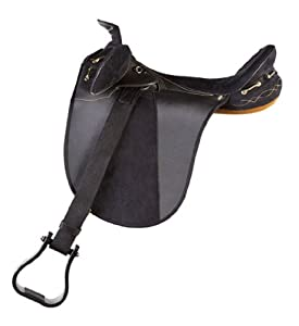 Down Under Saddle Supply Kimberley Synthetic Endurance Wide Saddle with Horn, Black, 16-Inch