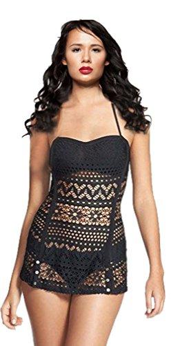 [Women's Sexy Crochet Kint Bathing Suits Swimdress Bikini Set with Bottom Beachwear] (Xxl Santa Suits For Sale)