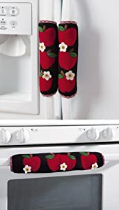 Set Of 3 Kitchen Appliance Handle Covers W/ Apple Design