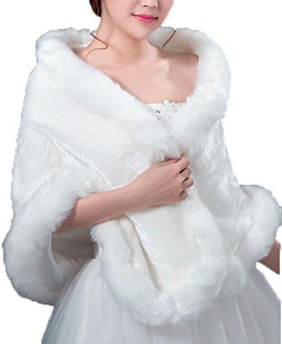 White Faux Fur Wrap Cape Stole Pashmina Shawl Shrug for Womens Winter