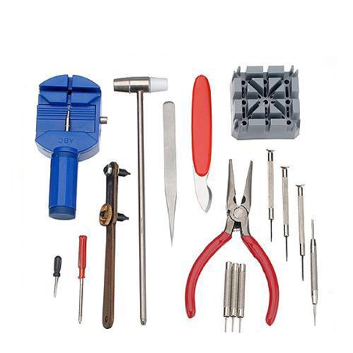 16 Piece Watch Repair Tool Kit Set Pin & Back Remover