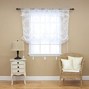 "Floral Lace Tie-up Curtains- 58"" L Panel - Arrivals by Best Home Fashion"