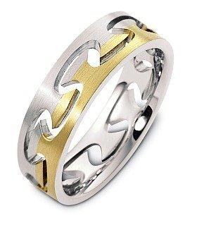 designer 18 karat two tone gold puzzle style unique wedding band ring 625