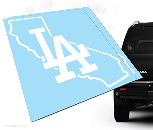 Los Angeles California LA Outline Car Decal (2pack!) _ made in the USA. Luke Duke Decals (white) (La Car Decal compare prices)