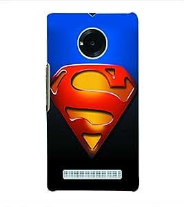 Fuson 3D Printed Super Man Logo Designer Back Case Cover for Yu Yuphoria - D951
