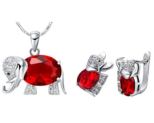 18k White Gold Plated Alloy Swarovski Elements Crystal Jewelry Set include Pendant Necklace and Stud Earrings