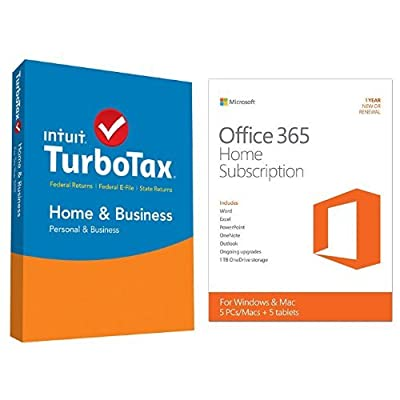TurboTax Home & Business 2015 Federal + State Taxes + Fed Efile Tax Preparation Software - PC/Mac Disc with Microsoft Office 365 Home 1 Year | 5 PC or 5 Mac Key Card