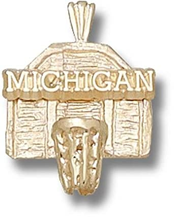 Michigan Wolverines Michigan Basketball Backboard Pendant - 14KT Gold Jewelry by Logo Art