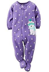 Carters Baby Girls One Piece Footed Fleece Pajamas (18 Months, Purple Polar)