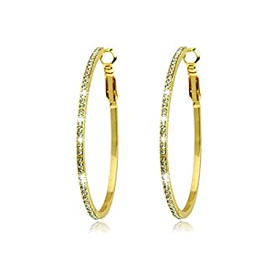 Voberry®Stylish Lady Girls Sparkling Crystal Gold-plated Big Round Hoop Earrings Eardrops Studs Perfect Gift Choice