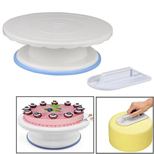 MyArmor Gâteau plateau rotatif Affichage/Décoration de gâteau tournant Support de table 27,4 x 22,6 x 8,6 cm + gâteau Plus lisse à pâtisserie pour pâtisserie, glaçage, Patterns etc. de montage.