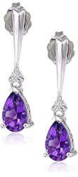 DiAura Sterling Silver Gemstone and Diamond Tear Drop Earrings