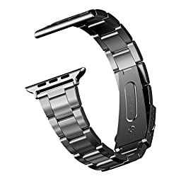 Apple Watch Band, JETech 38mm Stainless Steel Strap Wrist Band Replacement w/ Metal Clasp for Apple Watch All Models 38mm (Black) - 2116