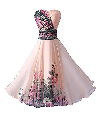 YipGrace Donna Elegante Senza Spalline Vestiti Da Sera Corti Pink L