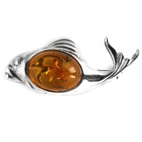 Baltic Honey Amber Sterling Silver New Age Classic Fish Pin