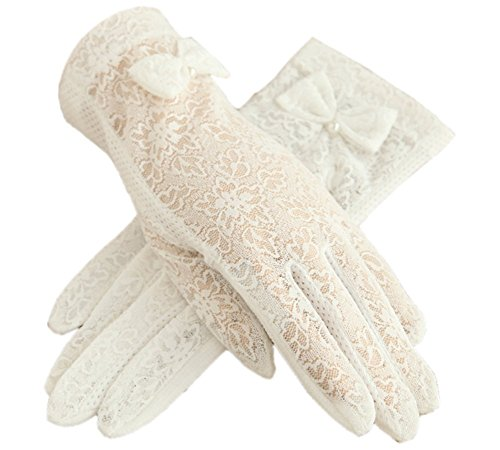 Urban CoCo Vintage Summer Lace Bowknot Short Dress Gloves Wedding Gloves (White)