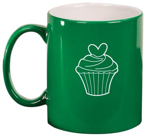 Valentine Heart Cupcake Ceramic Coffee Tea Mug Cup Green