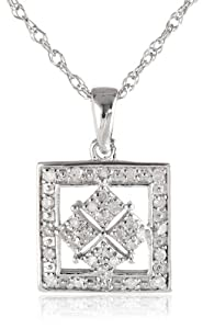 "Sterling Silver Square Design Diamond Pendant Necklace (0.13 cttw, I-J Color, I2-I3 Clarity), 18"" from JPI"