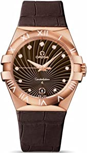 Omega Constellation Brown Dial Brown Leather Ladies Watch 12353356063001