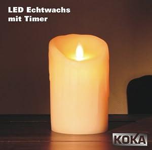 sompex flame led echtwachskerze mit timer elfenbein glatt. Black Bedroom Furniture Sets. Home Design Ideas