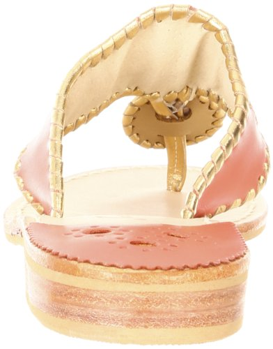 Jack Rogers Women's Nantucket Gold Sandal,Fire Coral/Gold,9 M US