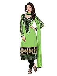 Metroz Women's Green Colored Georgette Dress Material with Dupatta
