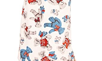 ladies Corel fleece teddy bear print zip front onesie with hood and ears. (Extra Small (8), Cream/Blue)