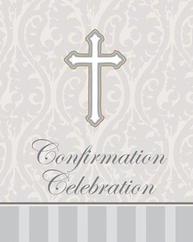 Creative Converting Devotion Cross Confirmation Celebration Invitations, Silver, 8 Count front-530344