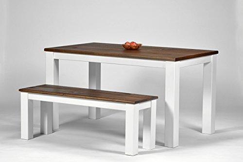 Esstisch-Rio-Landhaus-140x80cm-2-Bnke-120x38cm-Pinie-Massivholz-Tischplatte-und-Sitzflche-leicht-gebrstet-Farbton-Weiss-Kolonial-Zimt-optional-passende-Sthle-erhltlich