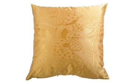 Kissenhülle Kissenbezug gewebt, Farbe gelb, seidige Oberfläche mit gewebtem Muster, pflegeleicht in 40x40cm von wohnen.com - Gartenmöbel von Du und Dein Garten