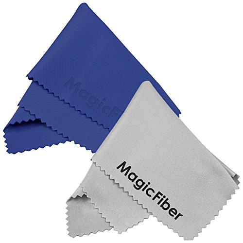 Magicfiber Ultra Fine Goja Microfiber Cleaning Cloths For Lcd Screen, Camera Lens, Glasses And Other Delicate Surfaces (1 Blue And 1 Grey)