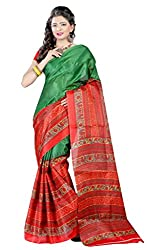 RGR Enterprice Woman's Bhagalpuri Designer Saree (RED ROSE_Multi-Coloured_Free Size)