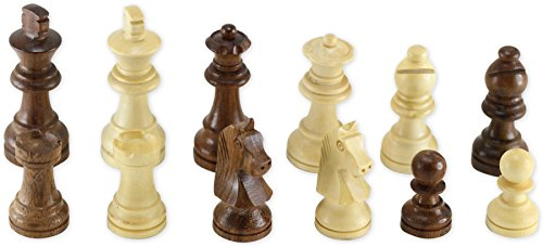 SouvNear Full Set of White Wood Staunton Magnetic Chessmen for 12 Inch Chess Sets - Chess Pieces Only