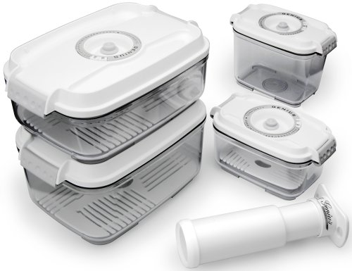 Genius Timer Basis 31285 5-Piece Set of Vacuum Food-Storage Boxes White