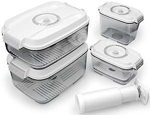 Genius Timer Basis 31285 5-Piece Set of Vacuum Food-Storage Boxes White