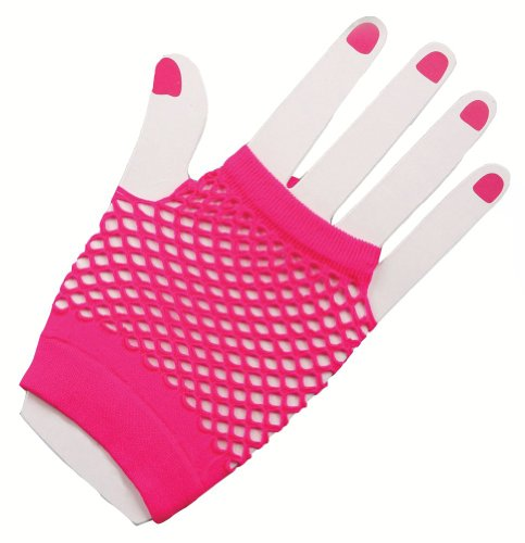 Neon Pink Fishnet Fingerless Wrist Gloves