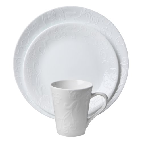Corelle Embossed Bella Faenza 16-Piece Dinnerware Set, Service for 4, White (32 Piece Corelle Dinnerware Set compare prices)