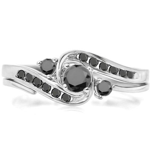 0.50 Carat (Ctw) 18K White Gold Round Black Diamond Ladies Swirl Bridal Engagement Ring Set (Size 6.5)