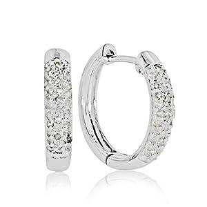10k White Gold 1/4-ct. T.W. Diamond Hoop Earrings