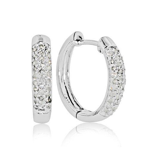 10k White Gold 1/4-ct. T.W. Diamond Hoop Earrings